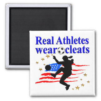 REAL ATHLETES WEAR CLEATS SOCCER DESIGN MAGNET