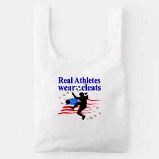REAL ATHLETES WEAR CLEATS SOCCER DESIGN REUSABLE BAG