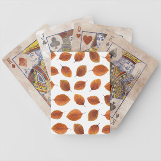 Real Autumn Leaves Pattern Bicycle Playing Cards