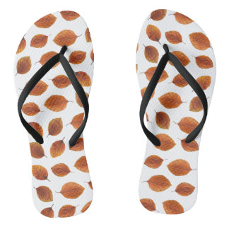 Real Autumn Leaves Pattern Flip Flops