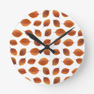 Real Autumn Leaves Pattern Round Clock
