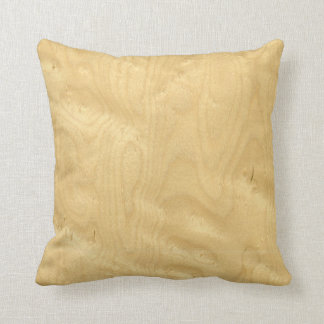 Real Birds Eye Maple Veneer Woodgrain Throw Pillow