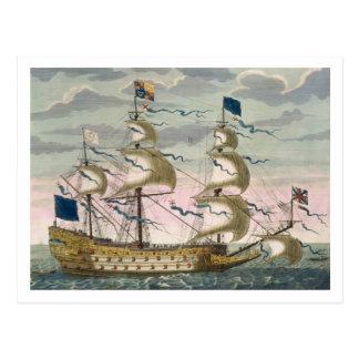Real (buque insignia) de la flota inglesa, el tarjeta postal