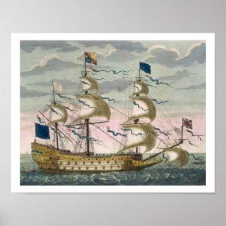 Real (buque insignia) de la flota inglesa, el vola póster