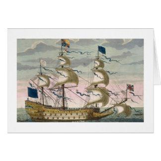 Real (buque insignia) de la flota inglesa, el vola tarjeta de felicitación