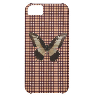 Real Butterfly on Purple Grid Pattern iPhone 5C Cases