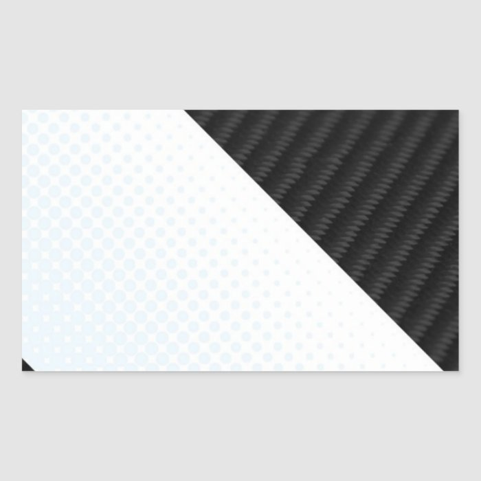 Real Carbon Fiber and Halftone Textured Layout Rectangular Sticker