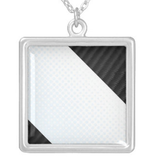 Real Carbon Fiber and Halftone Textured Layout Square Pendant Necklace