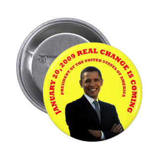 REAL CHANGE YELLOW.. PINBACK BUTTON