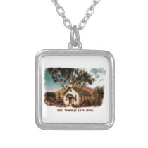 Real Cowboys Love Jesus Silver Plated Necklace