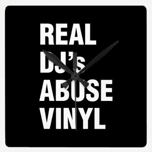 REAL DJ's ABUSE VINYL Square Wall Clock