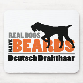 Real Dogs Have Beards - Deutsch Drahthaar Mouse Pad