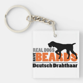 Real Dogs Have Beards - Deutsch Drahthaar Single-Sided Square Acrylic Keychain