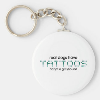 Real Dogs Have Tattoos Basic Round Button Keychain