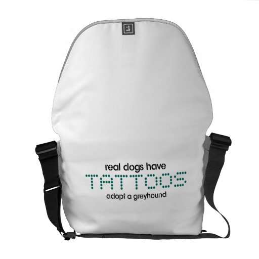 Real Dogs have Tattoos messenger bag