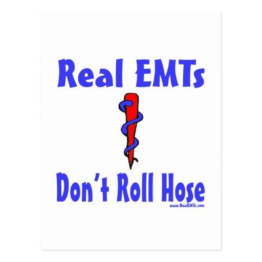 Real EMTs Dont Roll Hose card Postcard