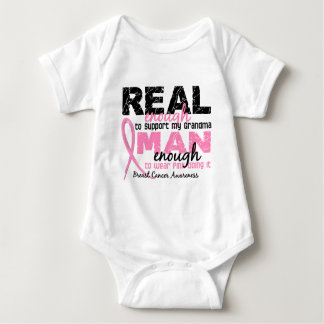 Real Enough Man Enough Grandma 2 Breast Cancer Baby Bodysuit
