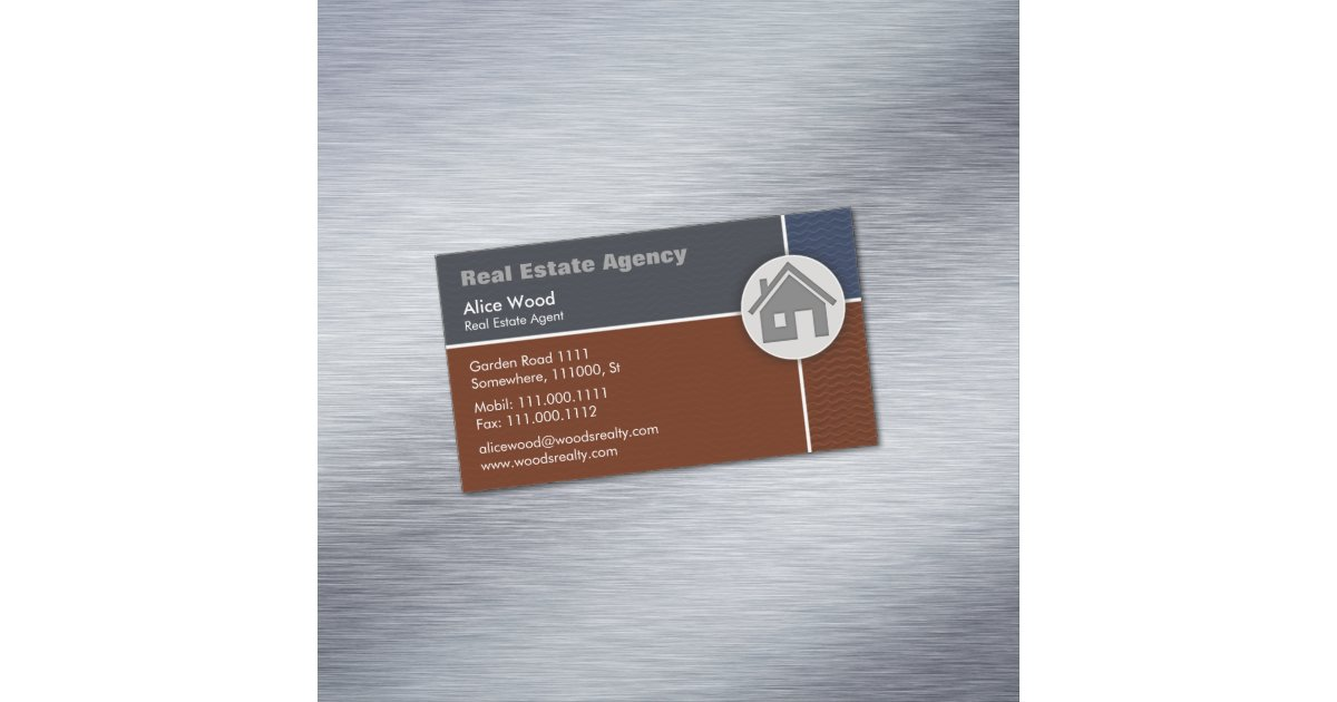 Real Estate Agency | Professional Magnetic Business Card | Zazzle.com