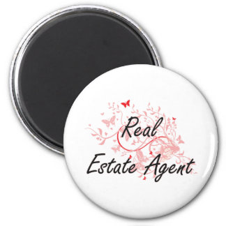 Real Estate Agent Artistic Job Design with Butterf 2 Inch Round Magnet