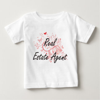 Real Estate Agent Artistic Job Design with Butterf Baby T-Shirt