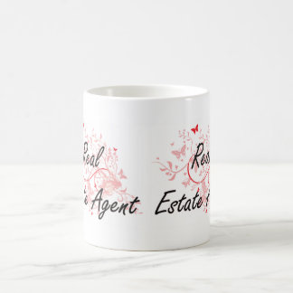 Real Estate Agent Artistic Job Design with Butterf Coffee Mug