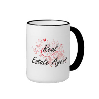 Real Estate Agent Artistic Job Design with Butterf Ringer Mug