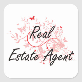 Real Estate Agent Artistic Job Design with Butterf Square Sticker