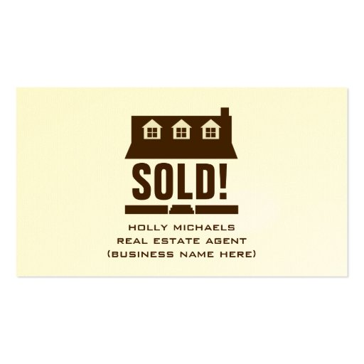 Real Estate Agent - Brown Cape Style House Double-Sided Standard Business Cards (Pack Of 100)