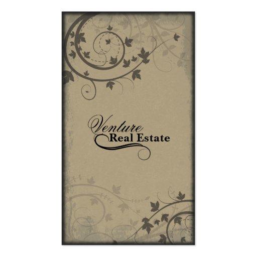Real Estate Agent Business Card -Beige Brown Black