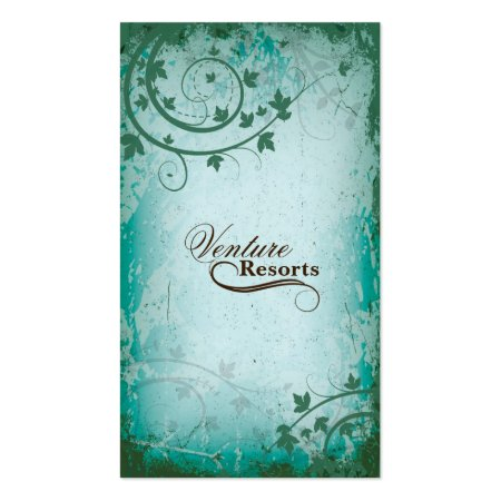 Teal Vintage Florals Bed and Breakfast Business Cards