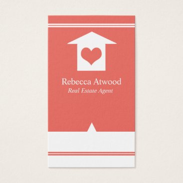Professional Business Real Estate Agent Business Cards Coral