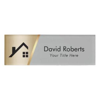 Real Estate Agent Custom Logo Modern Gold & Grey Name Tag