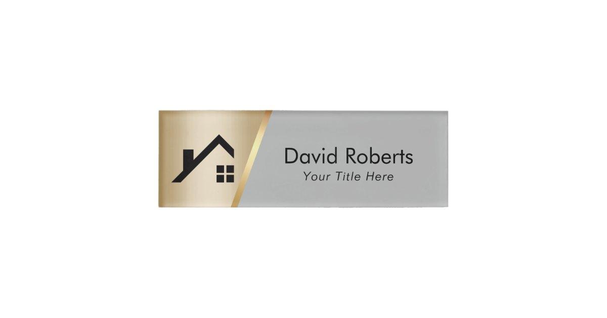 Real Estate Agent Custom Logo Modern Gold Amp Grey Name Tag