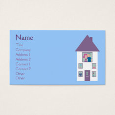 Real Estate Agent Cute Cartoon House & Couple Business Card at Zazzle