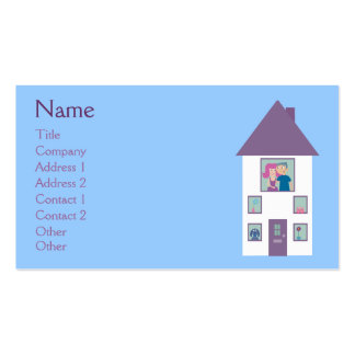Real Estate Agent Cute Cartoon House & Couple Business Cards