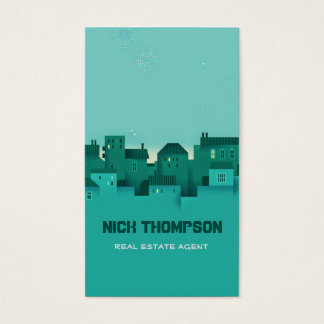 Real Estate Agent Cyan Night Houses Apartments Business Card