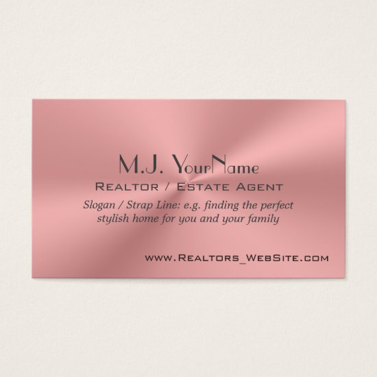 Real Estate Agent Estate Agent luxury pink chrome- Business Card