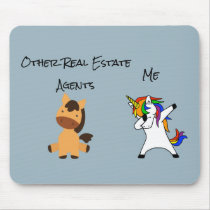 Real Estate Agent Gift Dabbing Unicorn Horse Mouse Pad