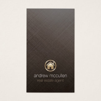 Real Estate Agent Gold House Icon Brushed Metal Business Card