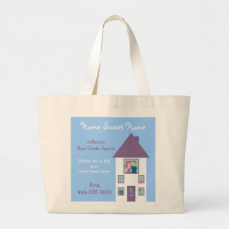 Real Estate Agent Home Sweet Home Advertising Large Tote Bag