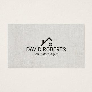 Real Estate Agent Modern Home Logo Classy Linen Business Card