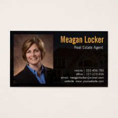Real Estate Agent Photo With House Background Business Card at Zazzle