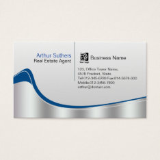 Real Estate Agent Property Investment Silver Wave Business Card at Zazzle