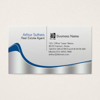 Real Estate Agent Property Investment Silver Wave Business Card