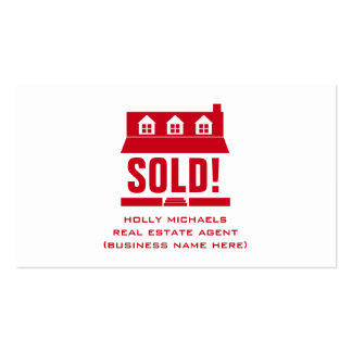 Real Estate Agent - Red Cape Style House Double-Sided Standard Business Cards (Pack Of 100)
