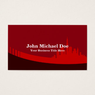 Real Estate Agent Red City Skyline Business Card