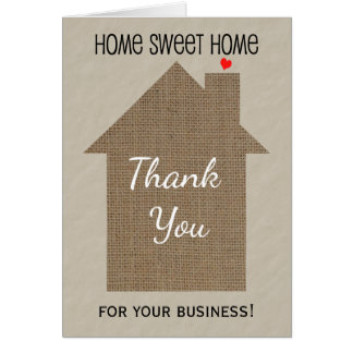 Real Estate Agent Thank You Note Card with Burlap