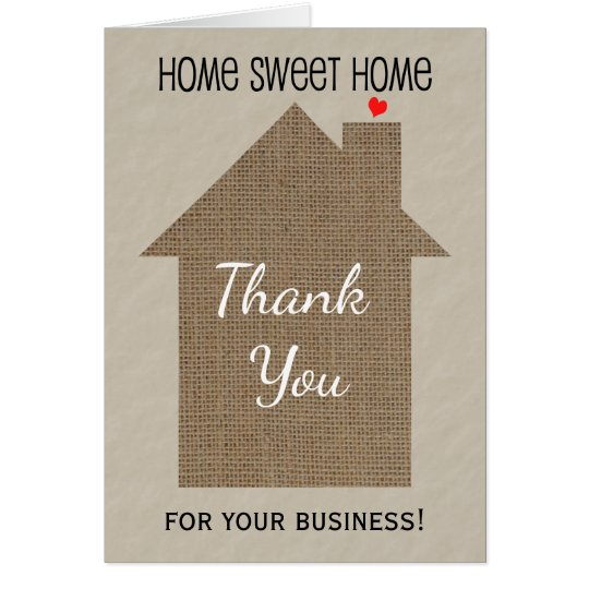 real estate agent thank you note card with burlap  zazzle