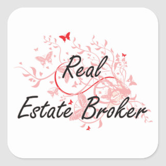 Real Estate Broker Artistic Job Design with Butter Square Sticker