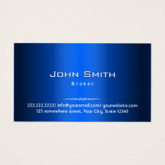Real Estate Broker Blue Metal Business Card at Zazzle